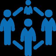 Icône représentant les liens entre les personnes d'un groupe.